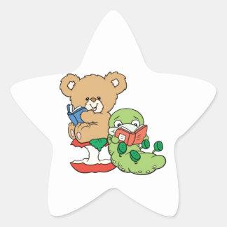 Baby Teddy Bear and Bookworm Read A Book Star Sticker