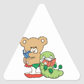 Baby Teddy Bear and Bookworm Read A Book Triangle Sticker