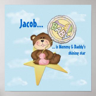 Baby Teddy Bear on a Star Poster
