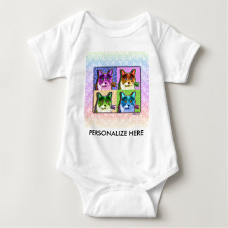 Baby Tees, Apparel - Pop Art Cat Baby Bodysuit