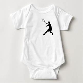 Baby tennis clothing with little logo of a player infant creeper