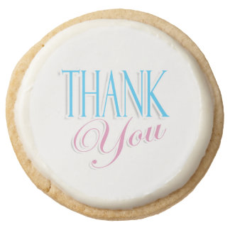 Baby thank you boy girl round shortbread cookie