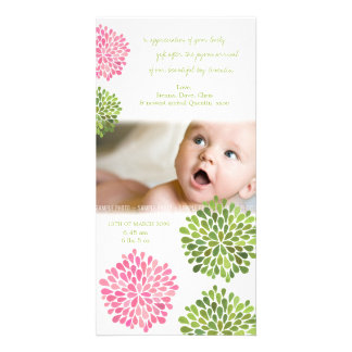Baby Thank You Card Pink & Green Dahlia Flowers