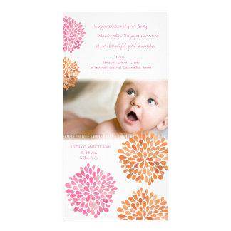 Baby Thank You Card Pink & Orange Flowers