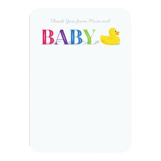 Baby Thank You Flat Note Cards Rubber Duck