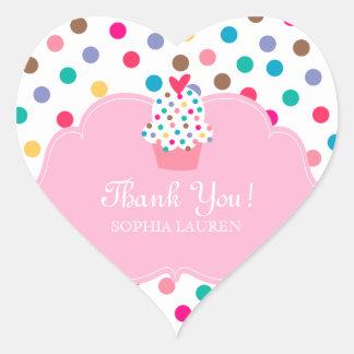 Baby Thank You Heart Cupcake Stickers Polka Dot