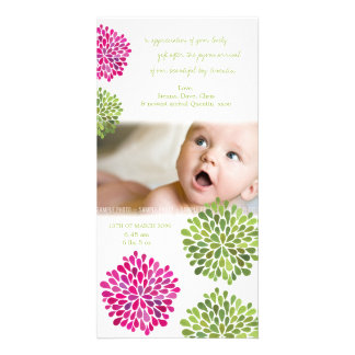 Baby Thank You Hot Pink & Green Blooms Card