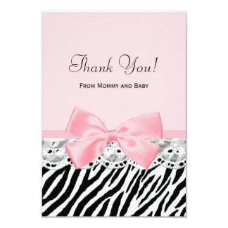 Baby Thank You Pink Ribbon and Lace Zebra Print Card