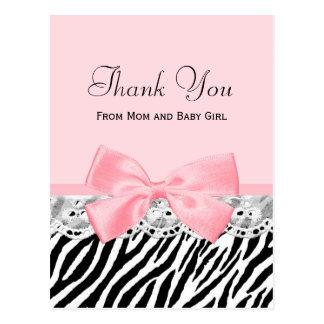 Baby Thank You Pink Ribbon and Lace Zebra Print Postcard