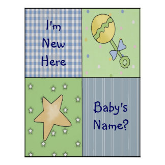 Baby Theme Boy New Arrival Art Print Poster