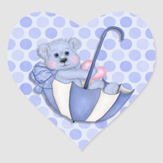Baby  Theme Umbrella Bear Pink Polka Dots Heart Sticker