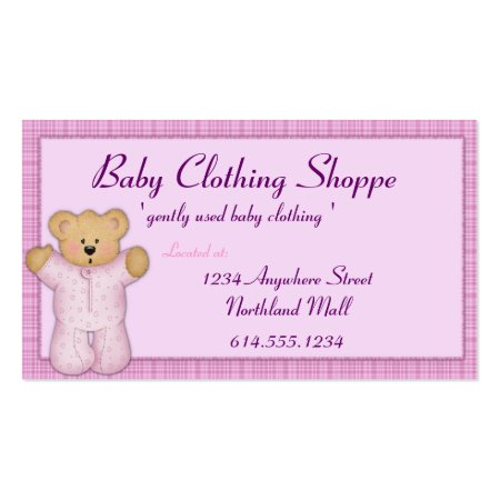 Teddy Bear Wearing Baby Clothing Shoppe Business Cards