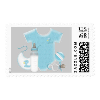 Baby Things Baby Boy Blue and Gray Baby Shower Postage Stamp