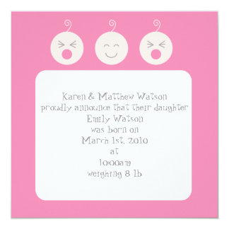 Baby Tic Tac Tots Birth Announcement - Pink