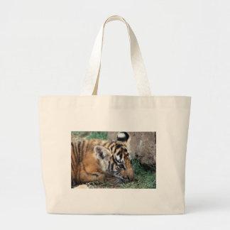 Baby Tiger cub lying down Large Tote Bag