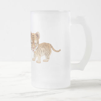 Baby Tiger Frosted Glass Beer Mug