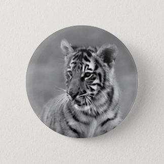 Baby Tiger in Black and white Button