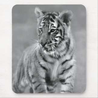 Baby Tiger in Black and white Mouse Pad