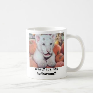 baby tiger in pumpkins, what? it's not halloween? coffee mug