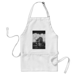 Baby Tiger stalking in Black and white Adult Apron