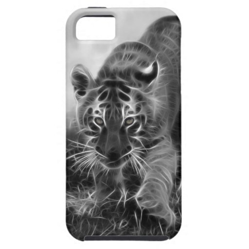 Baby Tiger stalking in Black and white iPhone 5 Case