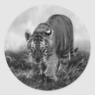 Baby Tiger stalking in Black and white Classic Round Sticker