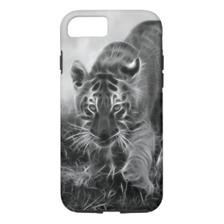 Baby Tiger stalking in Black and white iPhone 8/7 Case