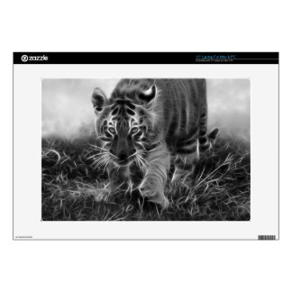 Baby Tiger stalking in Black and white Laptop Decals