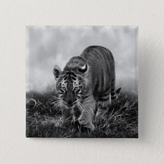 Baby Tiger stalking in Black and white Pinback Button