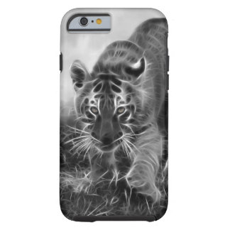 Baby Tiger stalking in Black and white Tough iPhone 6 Case