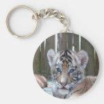 baby tiger waiting mom love basic round button keychain