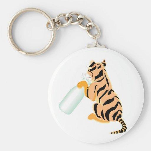 Baby Tiger With Bottle Basic Round Button Keychain