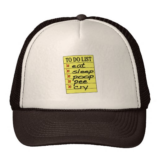 Baby to do list mesh hat