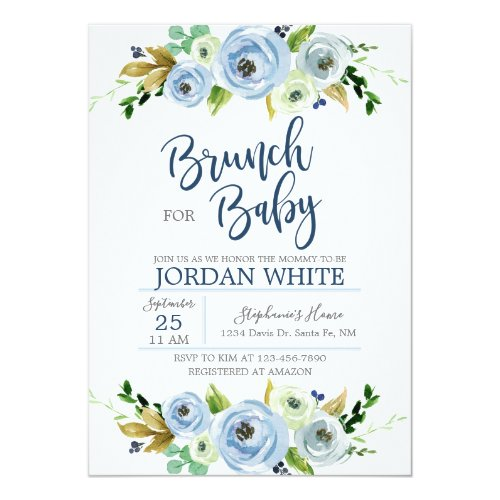 Baby to shower invitation I go blue floral