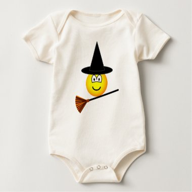 Witch flying emoticon broomstick  baby_toddler_apparel_tshirt