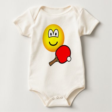 Table tennis playing emoticon ping pong  baby_toddler_apparel_tshirt