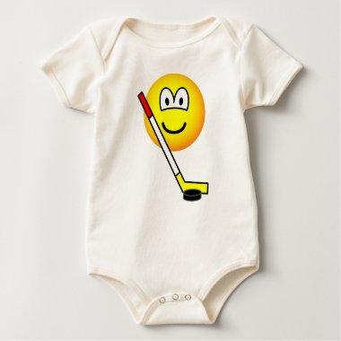 Ice hockey emoticon puck  baby_toddler_apparel_tshirt