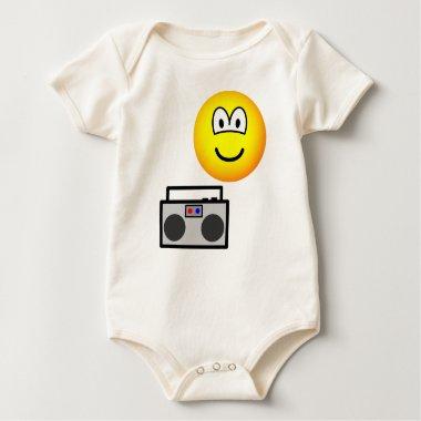 Boom box radio emoticon   baby_toddler_apparel_tshirt