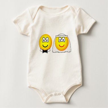 Married emoticon bride and groom  baby_toddler_apparel_tshirt