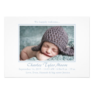 Baby Toile Blue - Photo Birth Announcement