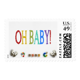 Baby Toys and Bright Colors Oh Baby Shower Postage