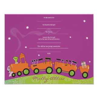 BABY TRAIN Jewish Baby Naming Birth Certificate Poster