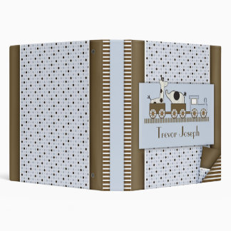 Baby Train with Poka Dots & Stripes 3 Ring Binder