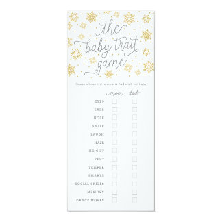 Baby Trait Gold Snowflake Baby Shower Game Card
