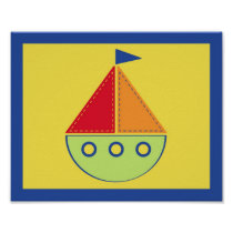 Baby Travel Sail Boat Nursery Wall Art Print