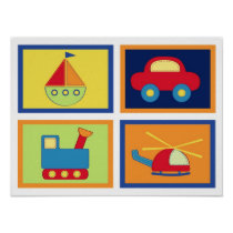 Baby Travel Transportation Nursery Wall Art Prints