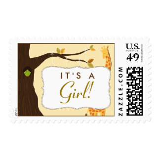 """Baby Tree Sign """"It's a Girl!"""" Stamp (yellow)"""