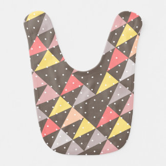 baby triangles pattern grey baby bib