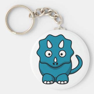 Baby Triceratops Basic Round Button Keychain