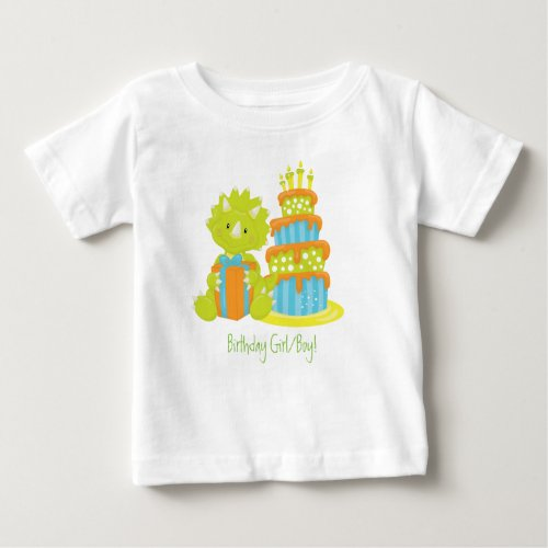 Baby Triceratops Dinosaur  Birthday Cake Baby T_Shirt